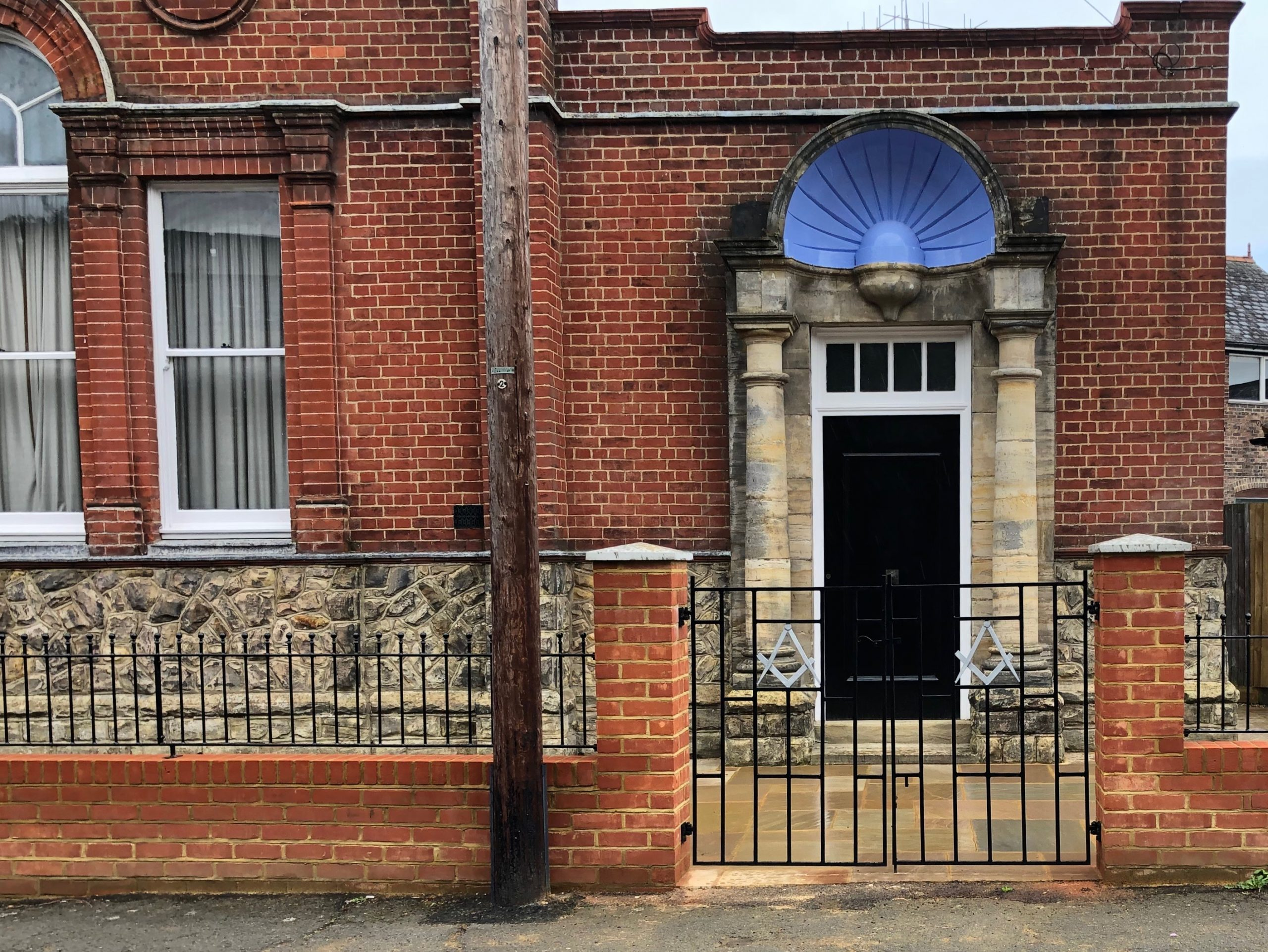 Front entrance to Freemason lodge in East Grinstead